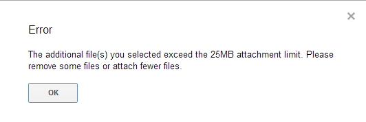הודעת שגיאה מגבלת הקובץ ג'ימייל 25 מגה בייט