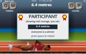 6.4 meters in game qwop