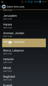android4.1choose athens for time zone
