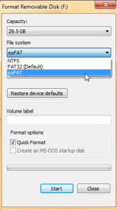 format exFAT in windows