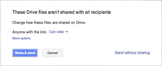 גוגל דרייב קבצים לא משותפים על מנת לצרף להודעה